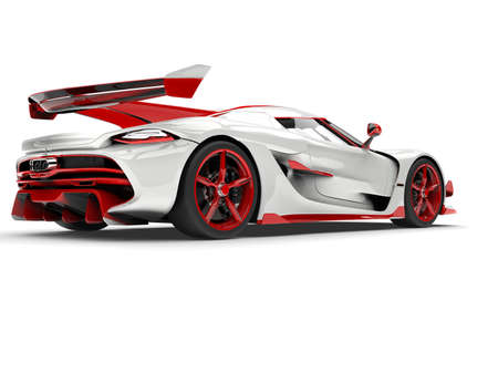 Red and white sports race super car - back view