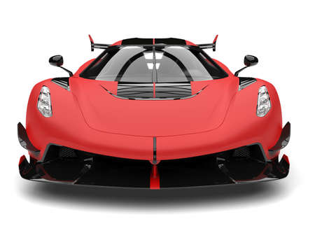 Bright matte red sports race super car - front view