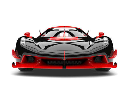 Black and red sports race super car - front view closeup shot