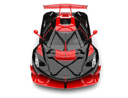 Black and red sports race super car - top down view