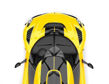 Bright summer yellow sports race super car - top down cut shot