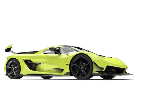 Bright lime green race super car