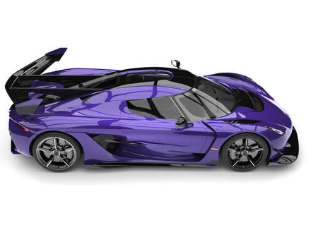 Metallic exotic purple sports race super car - top down view