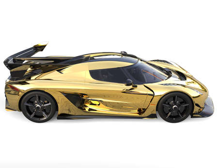 Golden race sports super car - top down view
