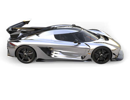 Silver race super car - top down side view