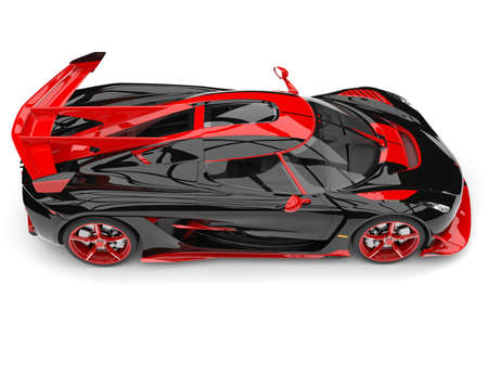 Black and red sports race super car - top down side view