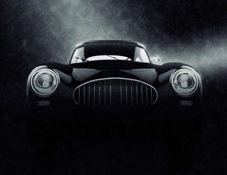 Vintage elegant car in the rain - noir style 3D illustration 写真素材