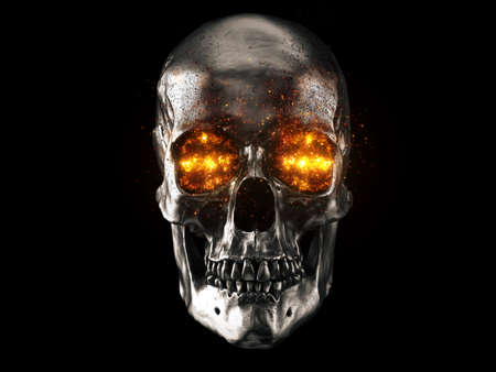 Metallic skull with red hot burning eyes 写真素材