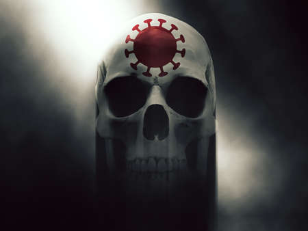 Death skull with corona virus symbol on its forehead 写真素材