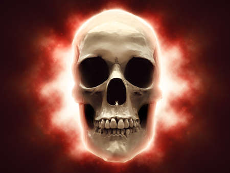Skull with bright red light shining behind it