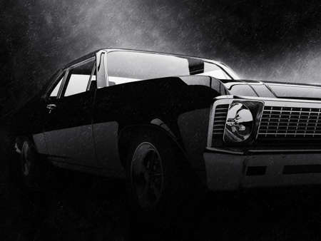Old school vintage muscle car in the rain - noir style 写真素材