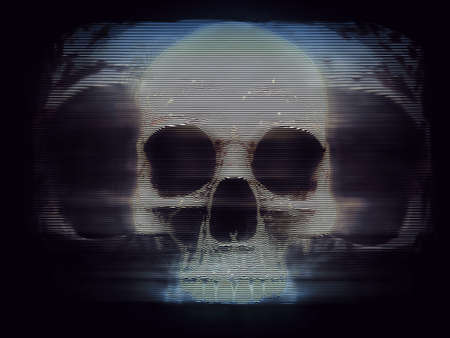 Vintage screen hologram of a skull 写真素材