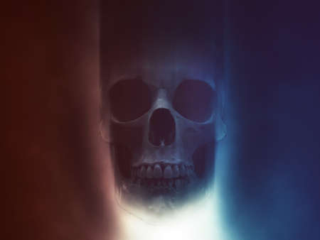 Skull in red and blue smoke with light shining from below
