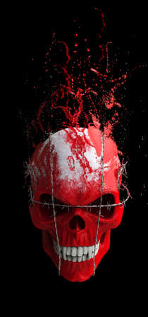 Red vampire skull bound in barbed wire dissolving into particles