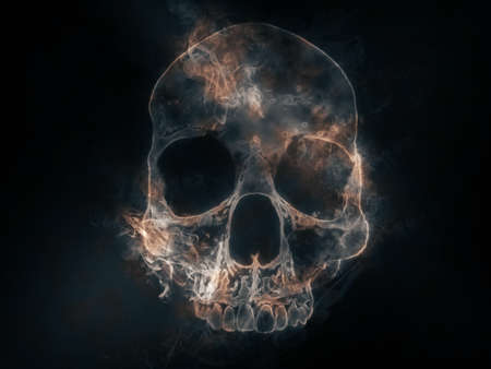 Skull cranium shape made out of smoke