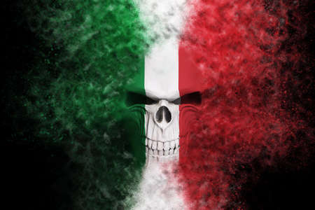 Angry Italian flag skull - particle FX - 3D Illustration