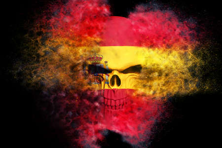 Spanish demon flag skull - particle FX - 3D Illustration 写真素材