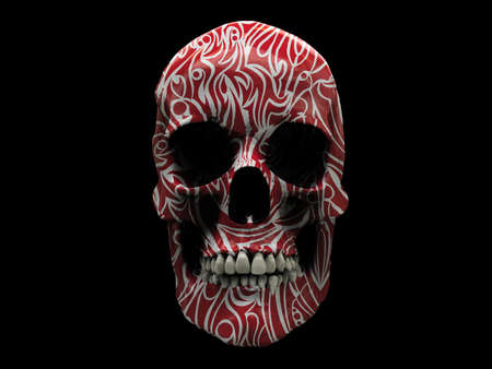 Red tribal tattoo on a human skull