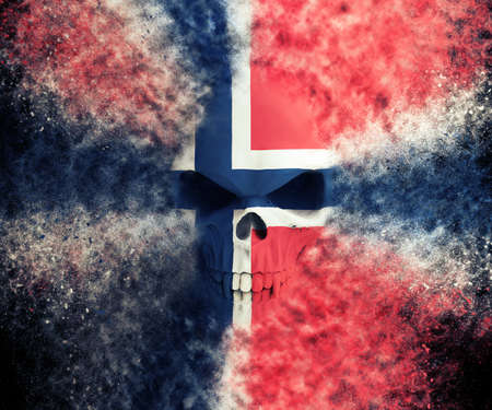 Norvegian demon flag skull - particle FX - 3D Illustration