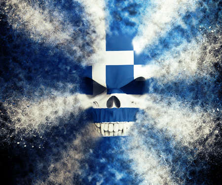 Greek flag skull - particle FX - 3D Illustration