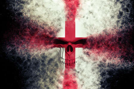 Angry England flag skull - particle FX - 3D Illustration