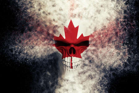 Angry Canadian flag skull - particle FX - 3D Illustration