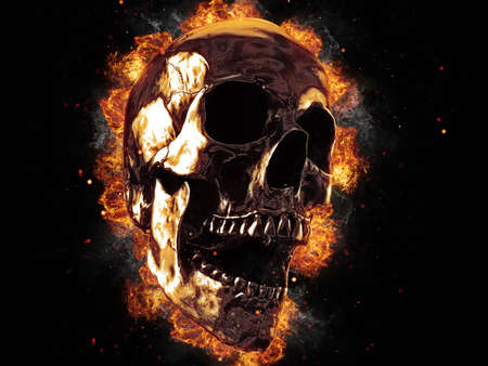 Screaming metal skull on fire 写真素材