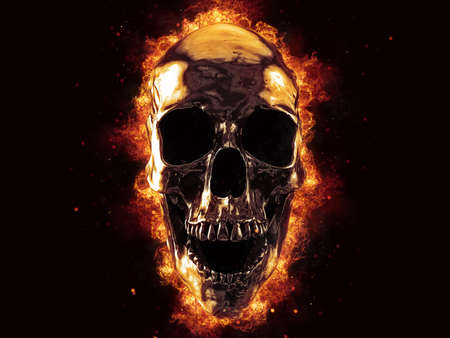 Laughing liquid metal skull on fire