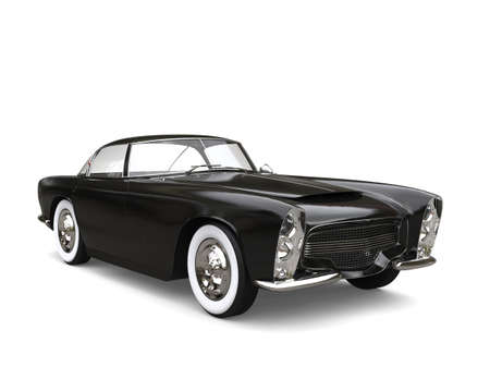 Night black vintage muscle car with white wall tires