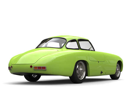 Old vintage lime green sports car - back view