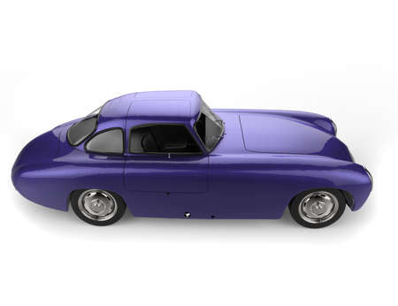 Royal metallic purple vintage sports race car - side view