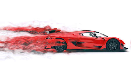 Fast red super car leaving a trail of red mist and wind 免版税图像