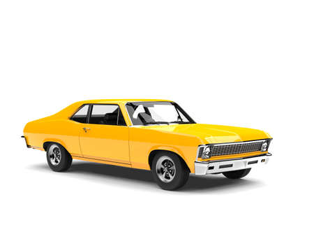 Canary yellow restored vintage muscle car - studio shot