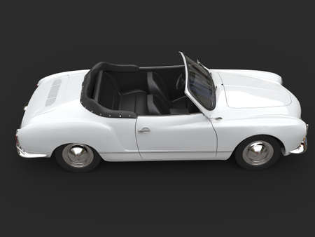 Restored old vintage white cabriolet car - top down view