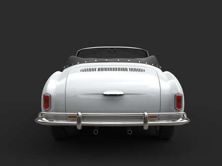 Restored old vintage white cabriolet car - tail view 스톡 콘텐츠