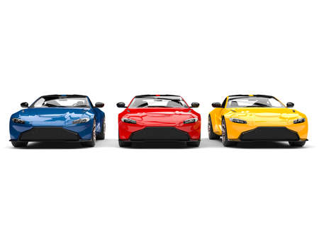 Red, blue and yellow modern electric sports cars parked side by side Foto de archivo