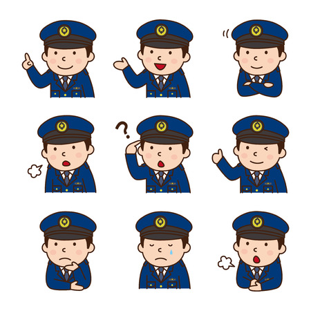 Set of policeman in various poses