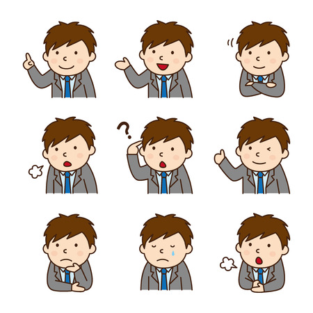 Set of businessman in various poses Illustration