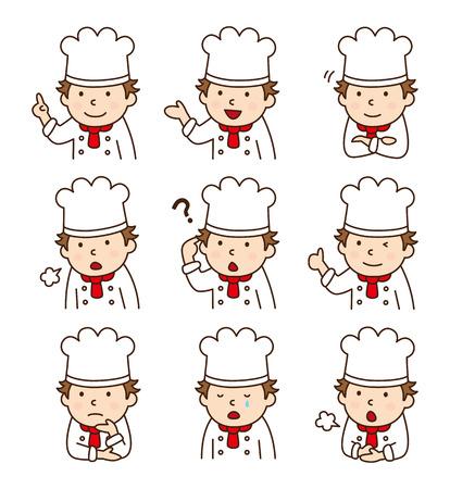 다양한 포즈에 요리사의 설정 일러스트
