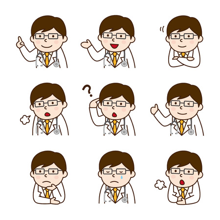 Set of doctor in various poses Vectores