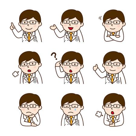 Set of doctor in various poses Иллюстрация