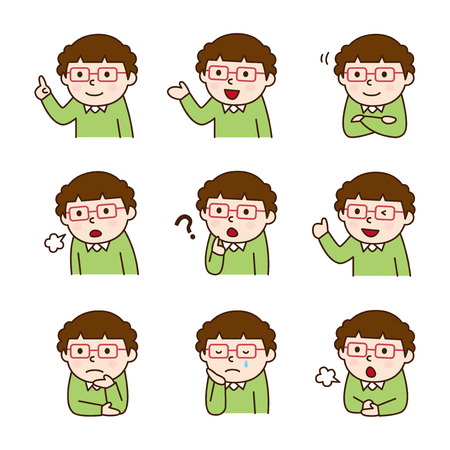 learning icon: Set of teacher in various poses Illustration
