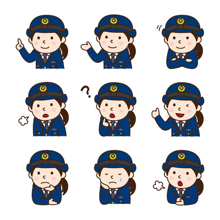 Set of police officer in various poses