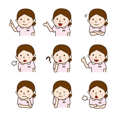 obrero caricatura: Conjunto de las enfermeras en varias poses