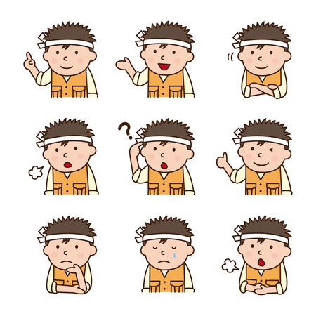 face expressions: Set of carpenter in various poses
