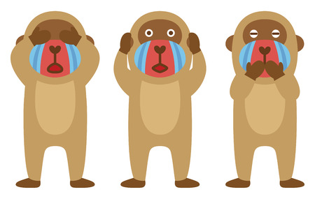mandrill: Tre scimmie sagge, mandrilli