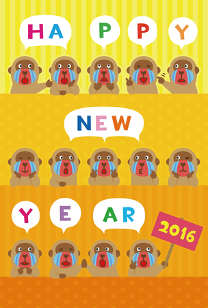 mandrill: 2016 new year greeting card with monkey illustrations  Illustration