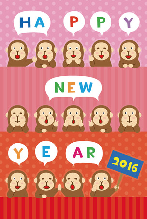 2016 new year greeting card with monkey illustrations  Vectores