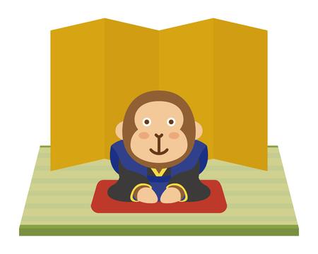 folding screens: Monkey of Japanese style
