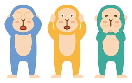 Three colourful wise monkeys  イラスト・ベクター素材